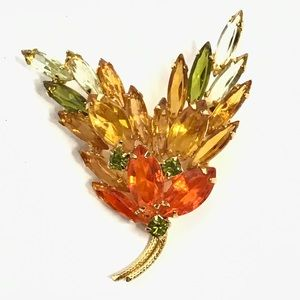 Sparkling Vintage Faceted Glass Botanical Brooch